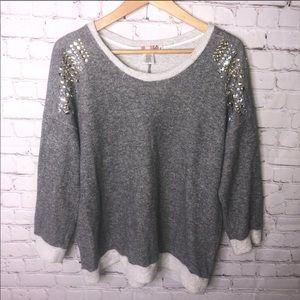 Studded Shoulder Gray Sweater